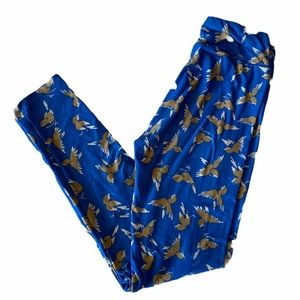 LLR Leggings Blue with Brown Bird One Size